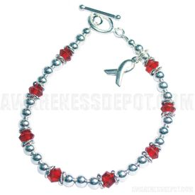 Diabetes Awareness Sterling Silver and Swarovski Crystal Bracelet