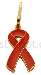 Diabetes Red Ribbon Zipper Pin
