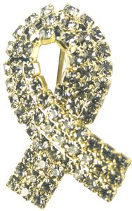 Diabetes Rhinestone Ribbon Pin - Gray