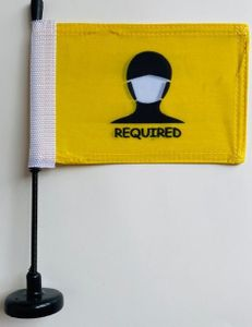 """Face Mask Required signage on 11"""" Flex Pole with Magnetic Base"""