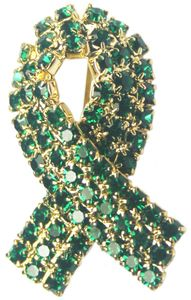 Glaucoma Awareness Rhinestone Ribbon Pin