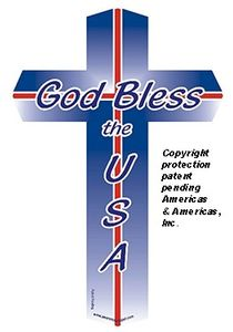 "God Bless the USA Cross Magnet Small 2""x4"""
