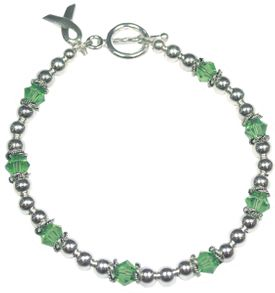 Green Liver Cancer Sterling Silver and Swarovski Crystal Bracelet