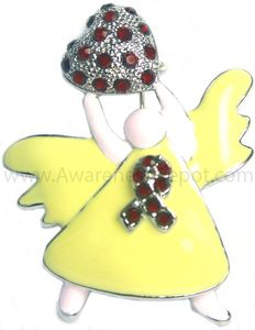 Head and Neck Cancer Angel Awareness Rhinestone Brooch