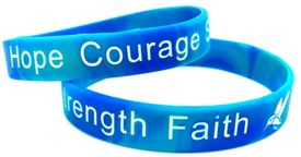 Hope Courage Strength Faith Child or Domestic Awareness bracelet
