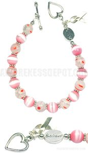 """""""I Believe"""" Breast Cancer Awareness Sterling Silver, Cats Eye and Glass Beaded Bracelet"""