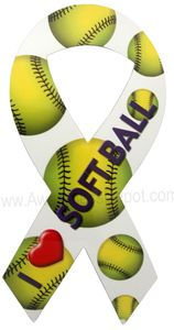 I Love Softball Ribbon Magnet