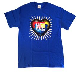 I Love Someone With Autism Blue T-Shirt Adult and Child