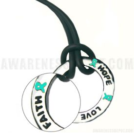 Inspire Ring Necklace - Teal for Ovarian Cancer