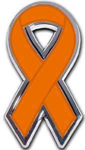 Kidney Cancer Ribbon Chrome Auto Emblem