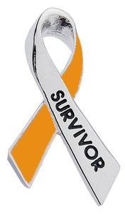 Kidney Cancer Survivor Ribbon Pin - Orange