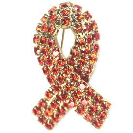 Leukemia Rhinestone Pin - Orange