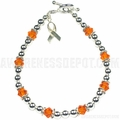 Leukemia Sterling Silver and Swarovski Crystal Bracelet