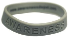 "Grey Silicone ""Awareness"" Bracelets for Lung Cancer Awareness"