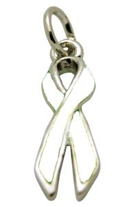 Lung Cancer Awareness Ribbon Charm - white