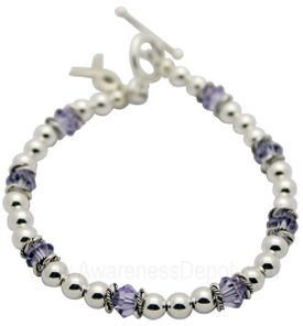 Lupus Awareness Swarovski crystal and Sterling Silver bracelet
