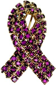 Lupus Rhinestone Ribbon Pin