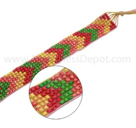 Multicolored Orange and Green Hand-woven Bracelet
