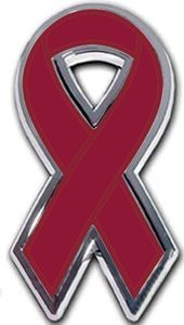 Multiple Myeloma Ribbon Chrome Auto Emblem