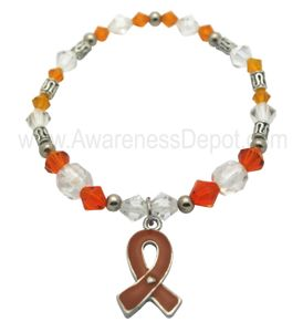 Orange Awareness Stretch Bracelet - Orange