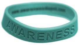 "Teal Silicone ""Awareness"" Bracelet for Ovarian Cancer Awareness"