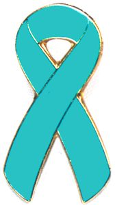 Ovarian Cancer Awareness Ribbon Pin - Teal