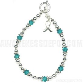 Ovarian Cancer Sterling Silver and Swarovski Crystal Bracelet