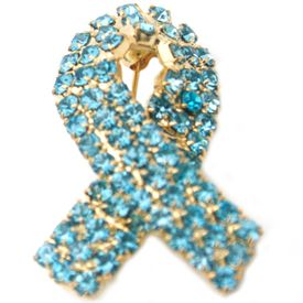 Prostate Cancer Awareness Rhinestone Ribbon Pin - Light Blue