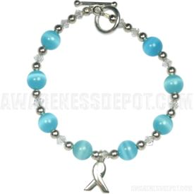 Prostate Cancer Awareness Sterling Silver and Crystal Bracelet