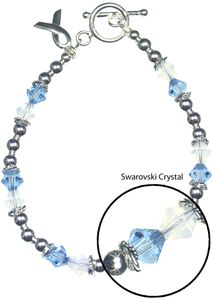 Prostate Cancer Sterling Silver and Swarovski Crystal Bracelet
