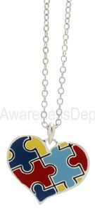 Puzzle Piece Heart Autism Awareness Necklace