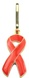 Red Ribbon Zipper Pin