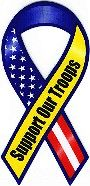 Red White Blue Yellow Support Our Troops Magnet