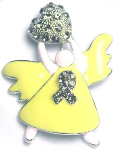 Rhinestone Angel Pin - Gray