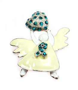 Rhinestone Angel Pin - Teal
