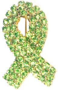 Rhinestone Ribbon Pin - Lime