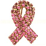 Rhinestone Ribbon Pin Pink for Breast Cancer