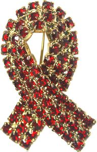 Rhinestone Ribbon Pin Red