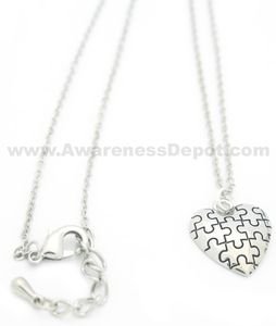 Silver Tone Plated Puffed Autism Awareness Puzzle Piece Heart Necklace