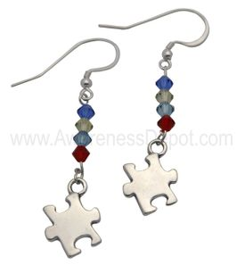 Sterling Silver and Swarovski crystal Autism Awareness earrings.