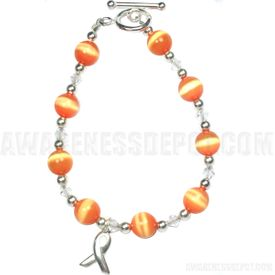 Sterling Silver Multiple Sclerosis Cats Eye Beaded Awareness Bracelet