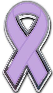 Lavender Ribbon Chrome Auto Emblem