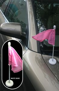 White Car Pole Magnet with PINK Flag for BREAST CANCER