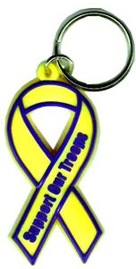 Yellow Support Our Troops Key Tag