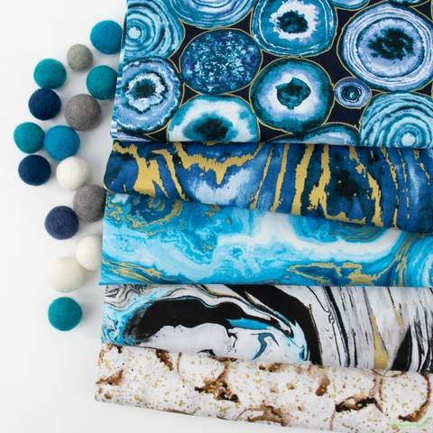 3 Wishes Fabric, Precious Metals Metallic, Paint Pour Turquoise