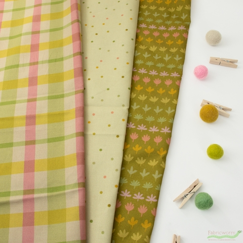 A Beautiful Mess for Paintbrush Studio, Flower Market, 70's Plaid Avocado