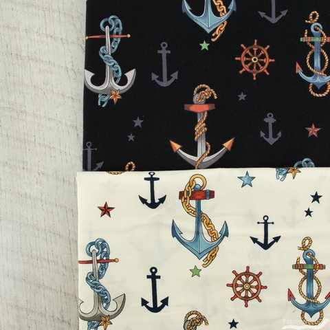Alexander Henry Fabrics, Anchored Black Multi