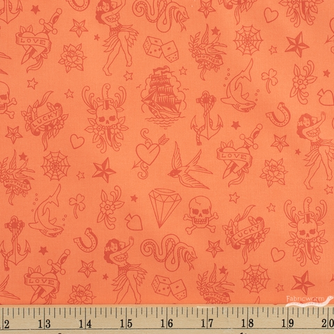 Alexander Henry Fabrics, Ink Work Red Tonal