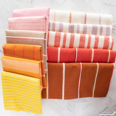 Alexia Marcelle Abegg for Ruby Star Society, Warp & Weft Heirloom, Woven Texture Stripe Persimmon