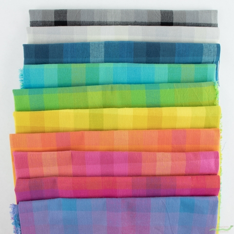 Alison Glass for Andover, Kaleidoscope Stripes & Plaids, All The Plaids Bundle 10 Total
